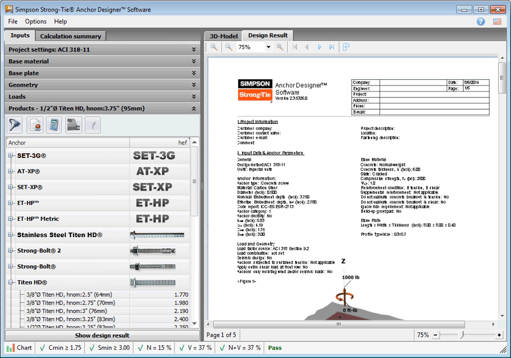 Anchor Designer software screenshot 1