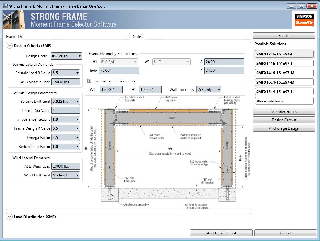 Strong Frame Moment Frame Selector Software